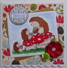 OOAK Handmade Birthday card - hedgehogs