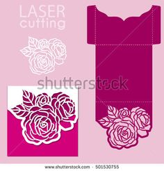 Vector die laser cut envelope template with rose flower. Wedding lace invitation mockup. Vector die laser cut wedding card template.