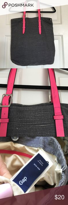 Gap hot pink grey canvas tote Perfect beach or work bag! Had a snap closure. No marks inside! Has small mark on strap. Offers welcomed!  GAP Bags Totes