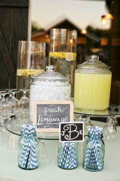 Pretty Lemonade Bars for a Summer Wedding Reception