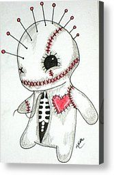 voodoo doll french market artwork | Voodoo Drawings Canvas Prints - Lil Voo Canvas Print by Amanda Melton