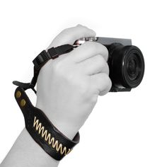 MegaGear Leather Wrist Strap - Comfort Padding, Enhanced Hand Grip Stability and Security for All Cameras (SLR / DSLR) - One Size Fits All (Black)