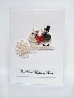 Wedding owls  quilling handmade card by szalonaisa on Etsy, $9.00