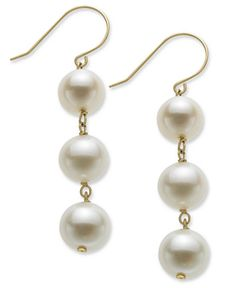 Pearl Earrings, 14k Gold Cultured Freshwater Pearl Drop Earrings (8.5mm)