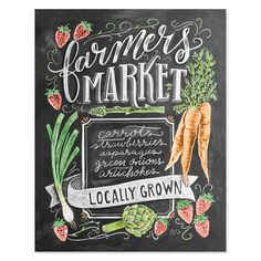 The Farmers Market bursts alive with color come Springtime! Bright orange carrots, juicy red strawberries, and countless shades of green from herbs, onions and more. These colors are brought to life in our Spring Farmer's Market print perfect for celebrating the fresh, local produce of this season. p.p1 {margin: 0.0px 0.0px 0.0px 0.0px; font: 12.0px Helvetica} p.p1 {margin: 0.0px 0.0px 0.0px 0.0px; font: 12.0px Helvetica} Chalkboard Print, Chalkboard Signs, Chalkboard Lettering, Chalkboards, Hand Lettering, Vintage Menu, Vintage Fall, Blackboard Drawing, Chalkboard Drawings
