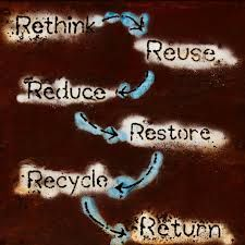 RE:think our planet Reduce Reuse Recycle, Go Green, Restoration, Recycling, Repurpose, Upcycle