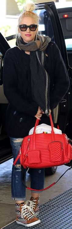 Who made  Gwen Stefani's red handbag, blue ripped jeans, brown print sneakers, plaid scarf, and black sunglasses?