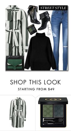 """""""Untitled #2292"""" by beebeely-look ❤ liked on Polyvore featuring Etienne Deroeux, Gucci, Aspinal of London, StreetStyle, striped, sammydress, Gogreen and streetwear"""