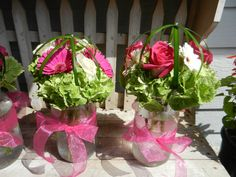 Centerpieces - Green Hydrangea, Hot Pink & White Gerber Daisies & Roses