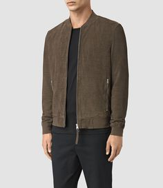 AllSaints New Arrivals: Lynott Perforated Suede Bomber
