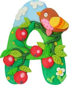 Letter A, children's modeling clay, by illustrator Olga Matushkina