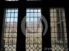 View from the window of a Danish palace inside, looking down to the courtyard below.