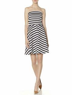 Striped Ponte Strapless Dress