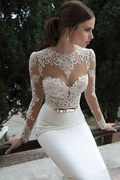 Long Sleeve Wedding Dress Sexy Mermaid White Ivory Lace Foraml Bridal Prom Gown