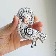 """Купить Брошь """" Алконост """" - серебряный, серый, алконост, Сирин, брошь, брошь птица"""