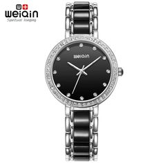 >> Click to Buy << WEIQIN Silver Black Shell Dial Rhinestone Fashion Watches Women Luxury Brand Shock Resistant Analog Quartz Ladies Watch Relogios #Affiliate
