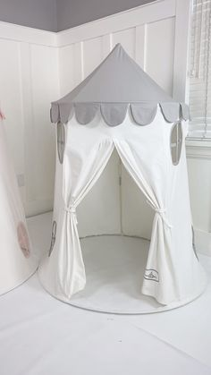 Kids Discover Our brand new tower tent playhouse is ready to inspire imaginative play. Easy to set up and exceptionally well made by hand from cotton canvas. Girl Room, Girls Bedroom, Baby Room Decor, Bedroom Decor, Kids Tents, Play Tents, Kids Room Organization, Playroom Ideas, Kids Sofa