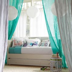 Downstairs playroom - Daybed instead of sofa for extra sleeping. using PB Teen's cable system and sheers to create curtains?