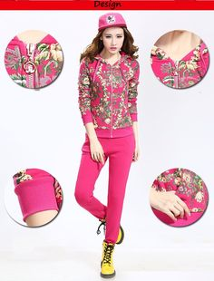 2014 printed fashion tracksuit for winter