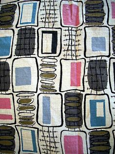 Vintage Mid Century Modern BARKCLOTH by TickledPinkVintage. Straight out of the Jetsons, but the colours are sophisticated. Motifs Textiles, Vintage Textiles, Textile Patterns, Textile Design, Fabric Design, Textile Art, Lucienne Day, 1950s Design, Stampin Up