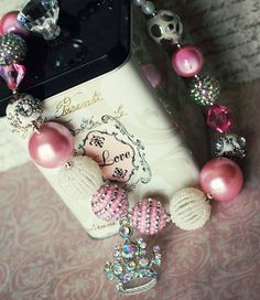 "Chunky Bead Bubblegum Necklace, ""her crowning moment"" pink and cream and silver princess crown necklace"