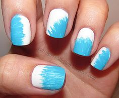Why is that fanned out paintbrush included in nail art paintbrush sets? I don't know what it's official use is. If you do, please leave a comment explaining it to me. I tried it out and made this. Maybe that's it's intended use. I started with a white polish and used turquoise acrylic paint and the fanned out paintbrush to go in at different angles.