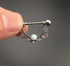 Opal Nipple Rings - 2pcs set #Piercings
