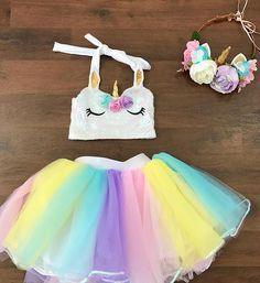 Baby girls Pastel rainbow unicorn sewn tutu skirt