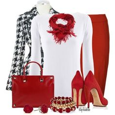 Could switch out red skirt for black & white shirt for red- houndstooth coat. Forgo scarf for statement necklace. (What to wear with black, red, white houndstooth skirt?)