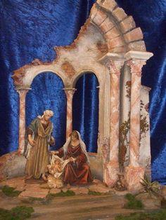 Pin by Isabel Guzman on Nativity Nativity Stable, Christmas Nativity Set, Nativity Crafts, Christmas Villages, Christmas Christmas, Xmas, Christmas Origami, Dollhouse Miniatures, Christmas Decorations