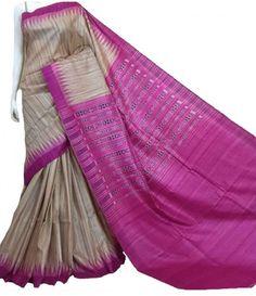 Pink Pure Handloom Ghicha Tussar Silk Saree With Ikat Weaving
