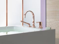 Those bronze taps are amazing! And even more lush teamed with the square bathtub. MEM Cyprum von Dornbracht (Design: sieger design) Fittings by sieger design & SIEGER Home Design, Interior Design, Plumbing Fixtures, Bathroom Fixtures, Bathroom Taps, Bathroom Hardware, Bathroom Storage, Gold Hardware, Master Bathroom
