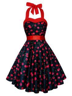 Vintage Sleeveless Halter Cherry Print Dress For Women
