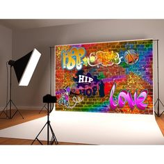 HelloDecor Polyster Hip Hop Graffiti Photography Backdrop Colorful Brick Wall Background for Party Decorations Photo Studio Backdrops Prop - pinnervoir Graffiti Photography, Photography Backdrops, Party Photography, Product Photography, Digital Photography, 90s Theme Party Decorations, Party Themes, Party Ideas, 80s Theme
