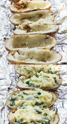 These spinach artichoke twice baked potatoes are so creamy and packed with flavor that you'll never believe they're dairy free, vegan, paleo and Brent Baker No Dairy Recipes, Veggie Recipes, Paleo Recipes, Cooking Recipes, Milk Recipes, Veggie Food, Cooking Tips, Quiche Lorraine, Twice Baked Potatoes