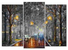 "Leonid Afremov -  MISTY MOOD - LIMITED EDITION -  Set Of 3 Mixed Media Oil On Canvas And Limited Edition Giclee On Canvas By Leonid Afremov - 48""X40"" (120cm x 100cm) total (side pieces 16""x36"" middle piece 16""x40"")"