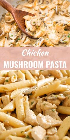 Chicken Mushroom Pasta is an easy weeknight meal that is ready in less than 30 minutes! A delicious, super creamy white wine based sauce loaded with mushrooms and tender, perfectly seared chicken. dishes with chicken Chicken Mushroom Pasta Pasta Recipes Video, Best Pasta Recipes, Chicken Pasta Recipes, Easy Dinner Recipes, Pasta Recipes Mushroom, Penna Pasta Recipes, Pasta Dishes With Chicken, Easy Chicken Meals, Salmon Pasta Recipes