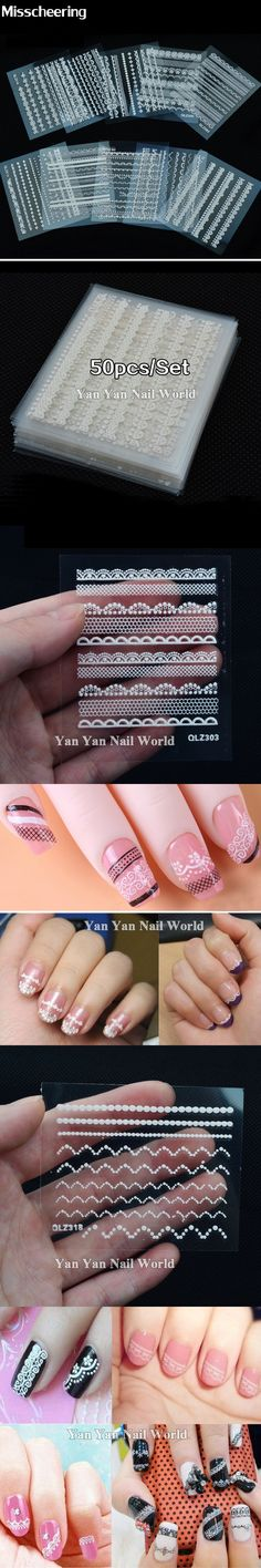 30sheets/pack 3d White Lace Nail Art Stickers Decals DIY Salon Beauty Nail Decoration Tools