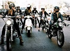 strong empowered women on bicycles uh motorcycles By the way...: Une petite balade