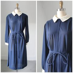70's navy blue contrast collar dress by SchoolofVintage on Etsy