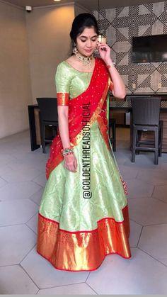 Half Saree Designs, Lehenga Designs, Saree Blouse Designs, Half Saree Lehenga, Saree Dress, Banarasi Lehenga, Lehenga Gown, Sari, Indian Gowns