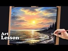 Acrylic Seascape Painting Techniques   Sunset at the beach - YouTube