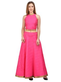 An outfit that will help you survive the onslaught of summer heat is this Magenta coloured Lehenga with Royal blue Choli by castle. Not only does it exude a vibrant look but will also be extremely comfortable to wear, courtesy its light Cotton fabric.
