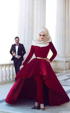 >> Click to Buy << Arabic style hot red robe de soiree high neck long sleeves asymmetrical short front long back cheap turkey muslin evening dress #Affiliate