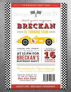 Race Car Birthday Invitation Card Ticket Racing by DesigningFinch, $15.00