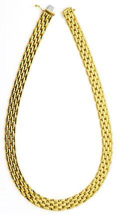 Foto 3, Backstein Kollier Goldkette massiv Gelbgold 18K/750 Neu, K2195