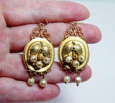 Victorian+Antique+Pearl+Leaf+Dangle+Earrings+14K+Gold+Estate+Jewelry+VIDEO++