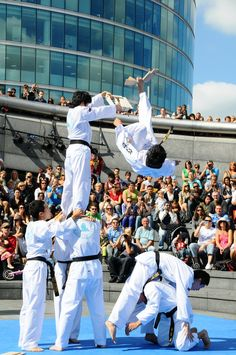 Tae Kwon Do demonstration - Who better to show us the effectiveness of Tae Kwon Do than the Republic of Korea Marine corps! Here one of their members performs a standing backflip with a kick to the board...Snap!