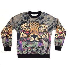 Psychedelic Jungle Cat Sweatshirt - Size Medium  #SweatshirtCrew #cat