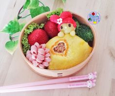 My Melody Omurice Bento   Bento Days. This Looks Like A Pizza Pop Inspired Bento. LOL.